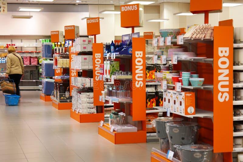 Intérieur OH d'un supermarché images libres de droits
