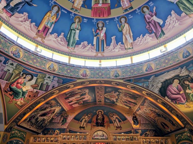 Intérieur orthodoxe grec d'hypothèse photos stock