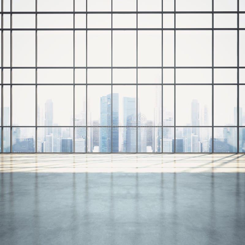Intérieur ouvert ensoleillé vide de plan avec le paysage urbain photographie stock