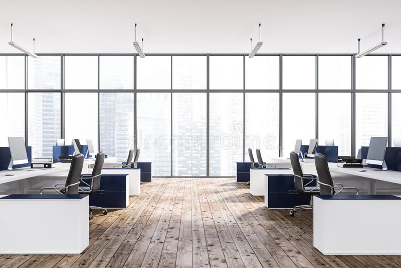 Intérieur panoramique de bureau, tables bleues illustration de vecteur