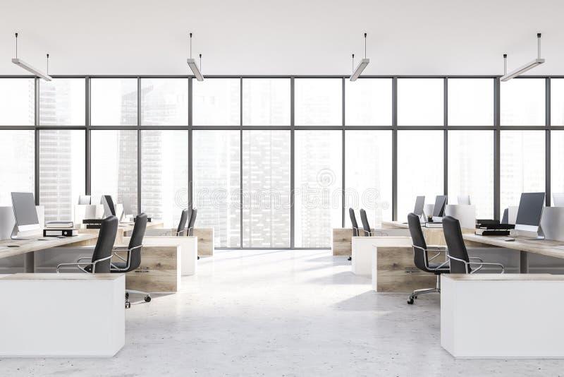 Intérieur panoramique de bureau, tables en bois illustration libre de droits