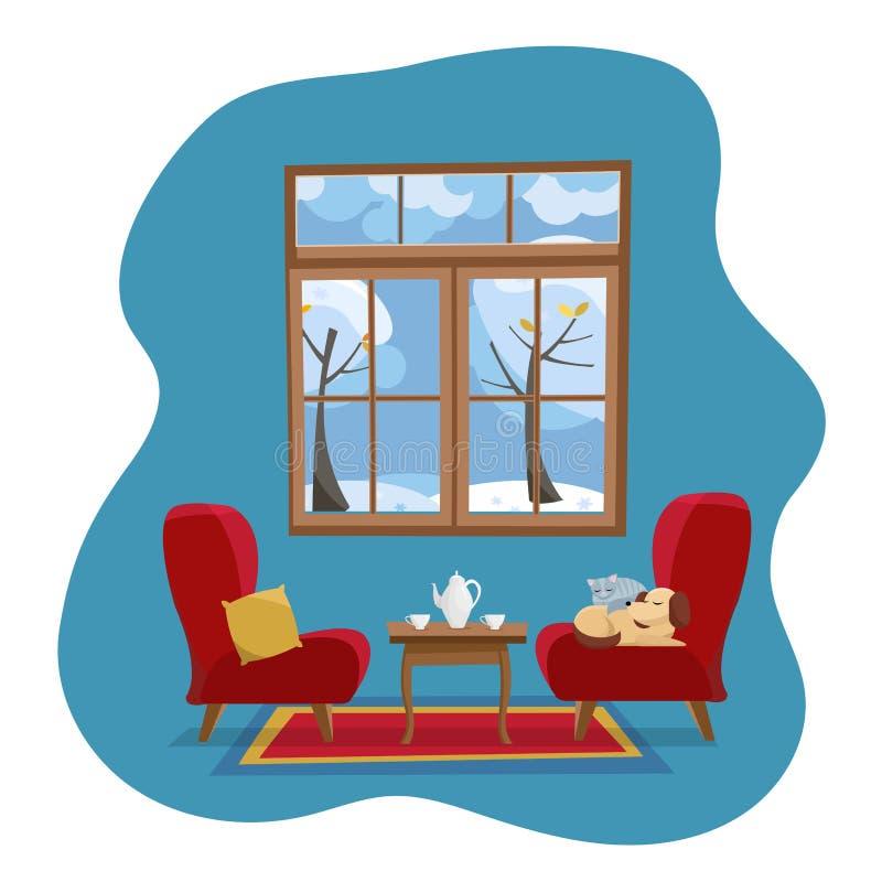 Intérieur plat confortable de salon de maison de concept Fauteuils mous rouges avec des animaux familiers de table et de sommeil  illustration stock
