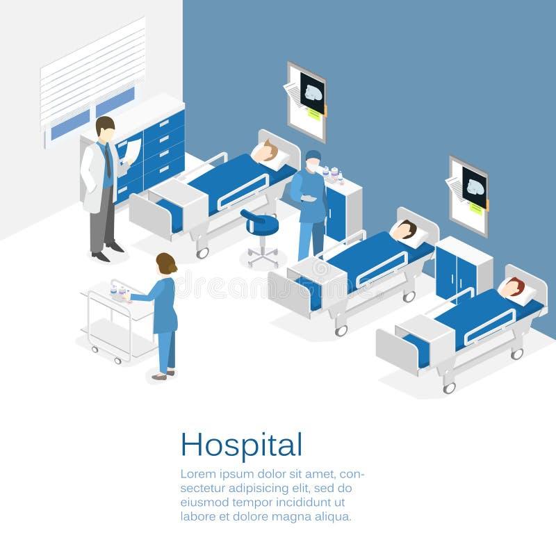 Intérieur plat isométrique de chambre d'hôpital Médecins soignant le patient illustration libre de droits