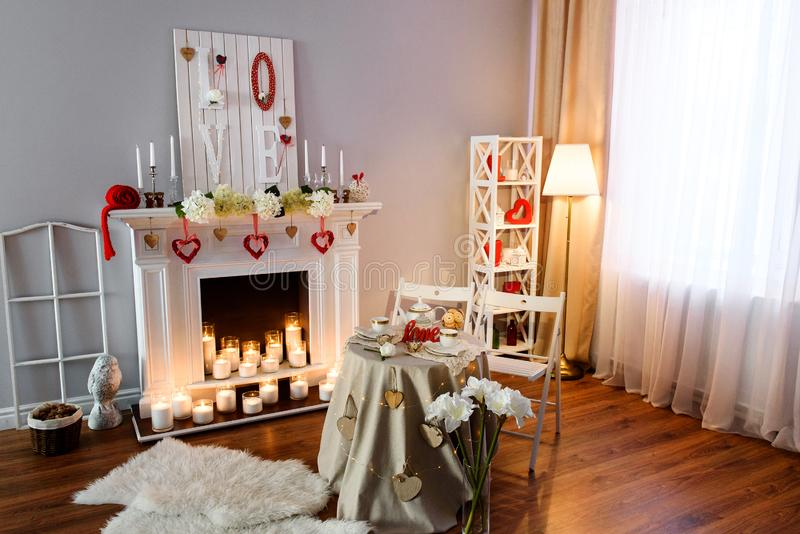 Intérieur pour la célébration de la Saint-Valentin de St photos stock