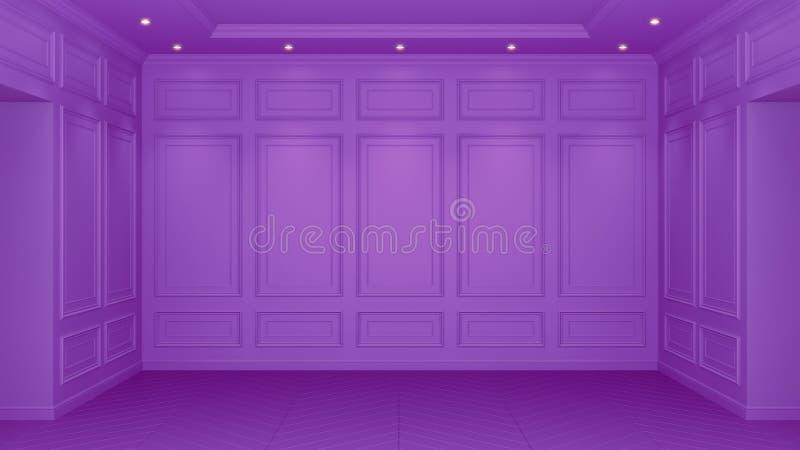 Intérieur pourpre classique avec l'espace de copie Murs rouges avec le d?cor classique Ar?te de hareng de parquet de plancher ren illustration stock
