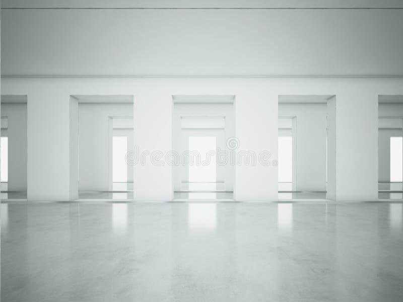 Intérieur propre blanc de l'espace ouvert 3d rendent illustration libre de droits