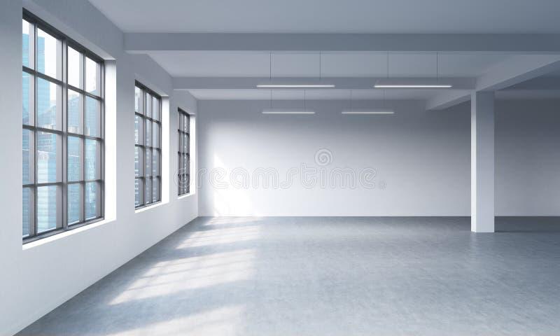 Intérieur propre lumineux moderne d'un espace ouvert de style de grenier Fenêtres énormes et murs blancs Vue panoramique de ville illustration libre de droits