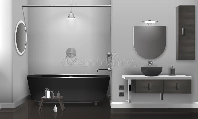 Intérieur réaliste de salle de bains avec deux miroirs illustration libre de droits