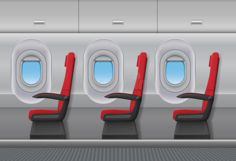 Intérieur rouge de vecteur d'avion de passager Carlingue d'intérieur d'avions avec des hublots et des sièges de chaises Illustrat illustration de vecteur