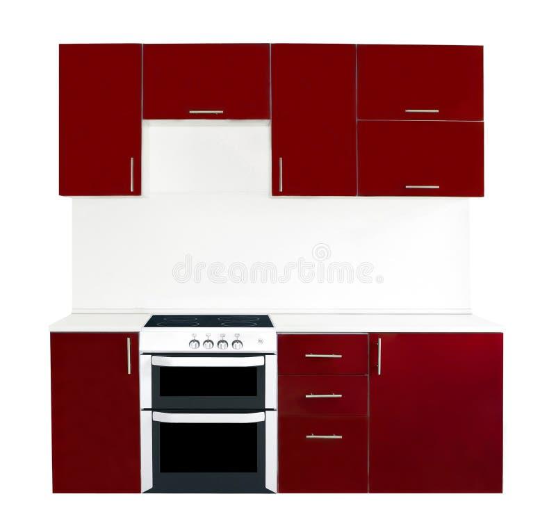 Intérieur rouge moderne de cuisine photo stock