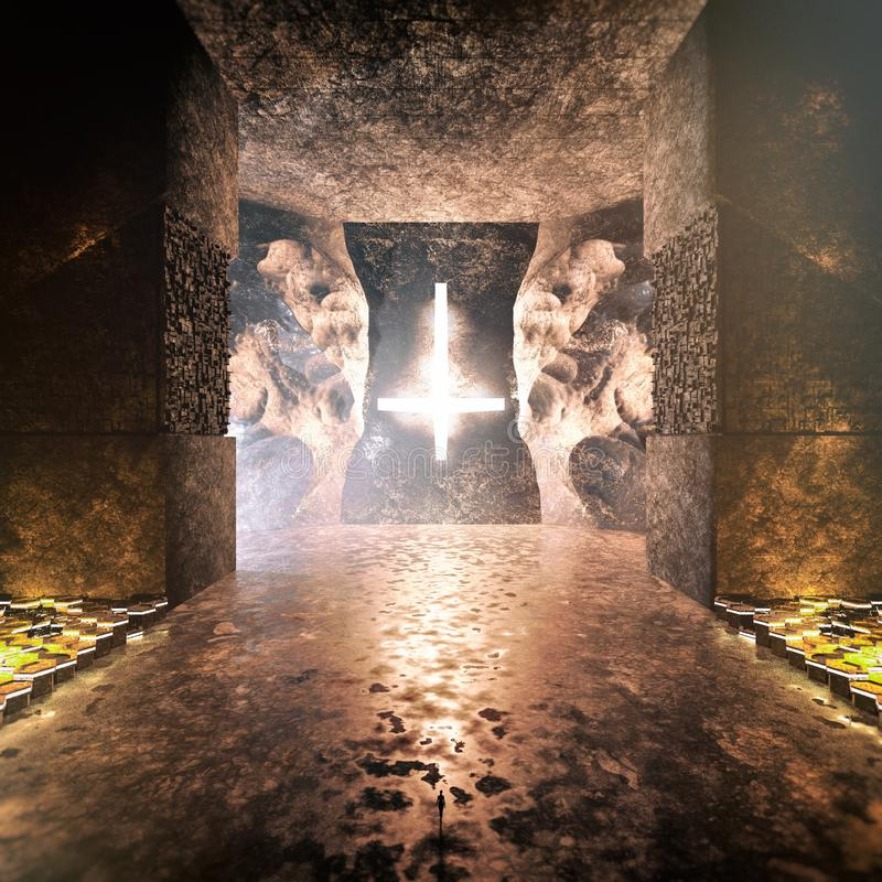 Intérieur sataniste antique futuriste de temple illustration de vecteur