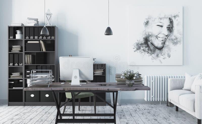 Intérieur scandinave moderne de bureau de style 3d rendent illustration libre de droits