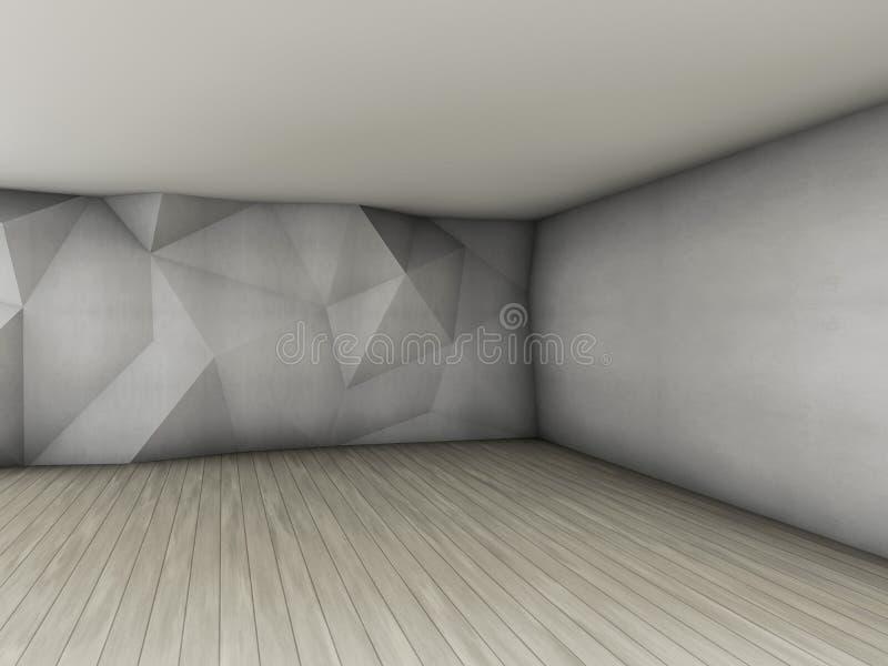 Intérieur vide abstrait avec le modèle en relief polygonal concret o illustration libre de droits