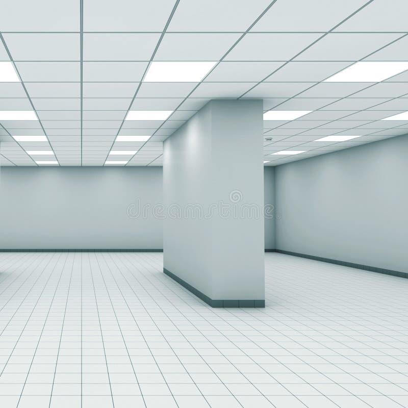Intérieur vide abstrait de pièce de bureau avec la colonne 3d illustration libre de droits