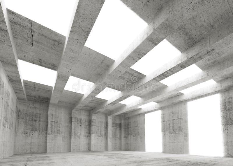 Intérieur vide abstrait du béton 3d avec des lumières illustration de vecteur