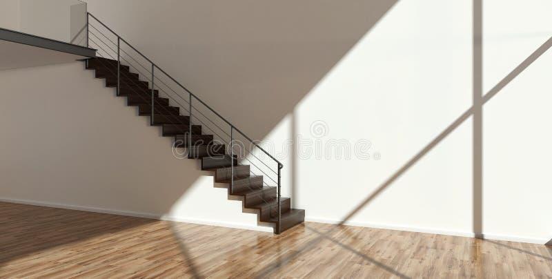 Intérieur vide avec des escaliers illustration libre de droits