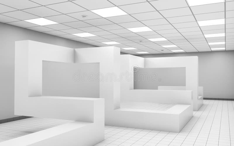 Intérieur vide blanc abstrait de pièce du bureau 3d illustration libre de droits