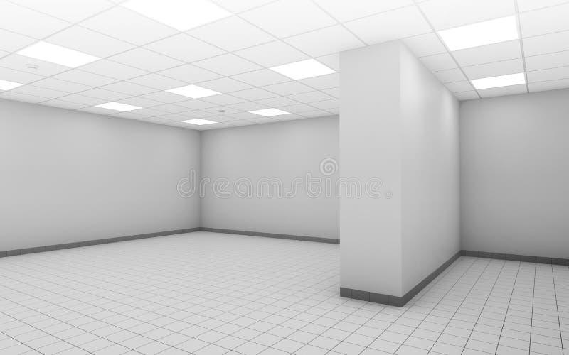Intérieur vide blanc abstrait de salle 3d de bureau illustration de vecteur