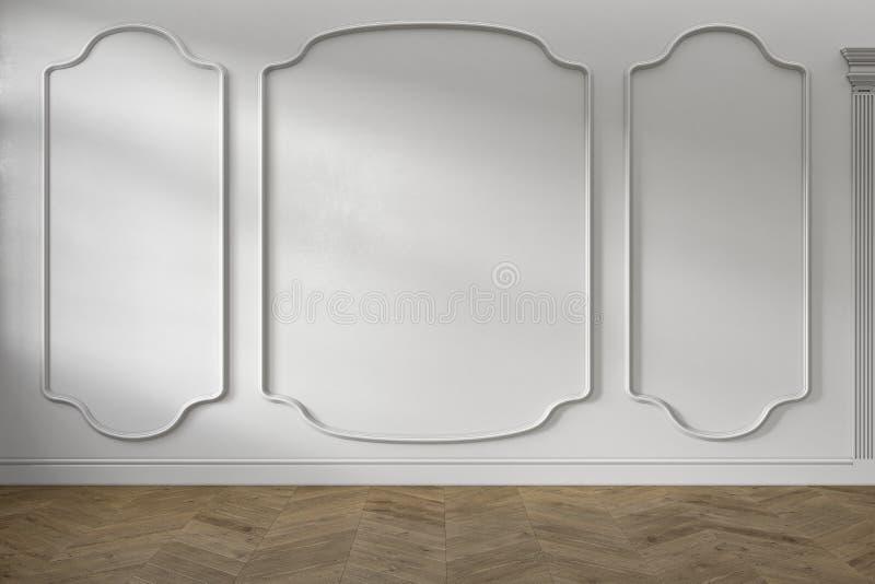 Intérieur vide blanc baroque classique moderne avec les panneaux de mur et le plancher en bois illustration de vecteur