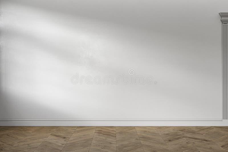 Intérieur vide blanc classique moderne avec le mur vide et le plancher en bois illustration libre de droits