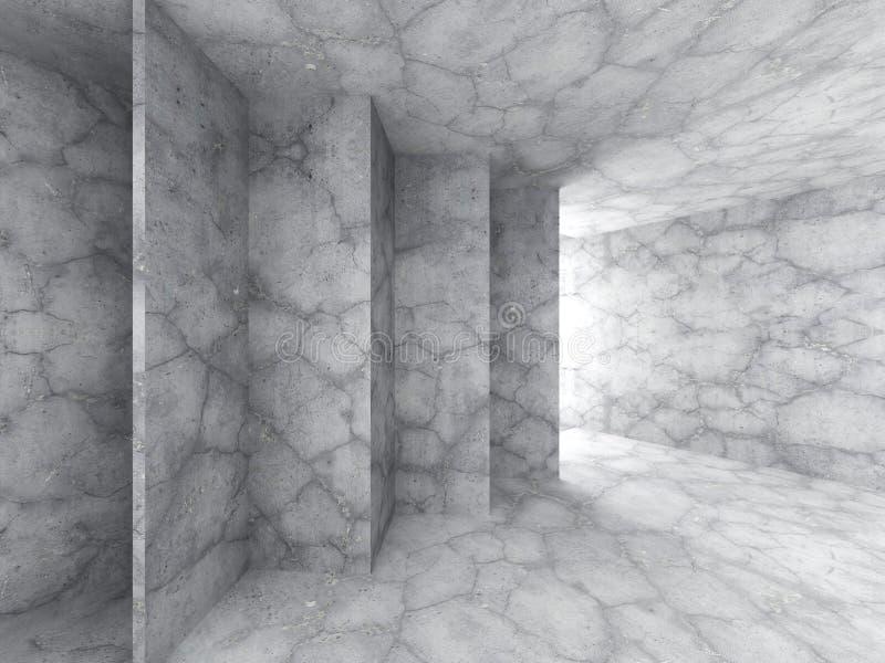 Intérieur vide concret de chambre noire avec la sortie légère Architecture images libres de droits