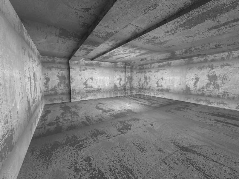 Intérieur vide concret de chambre noire Backg industriel d'architecture illustration libre de droits