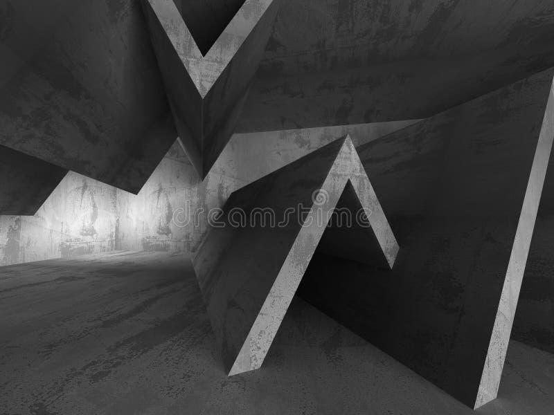 Intérieur vide concret sombre abstrait de pièce illustration stock