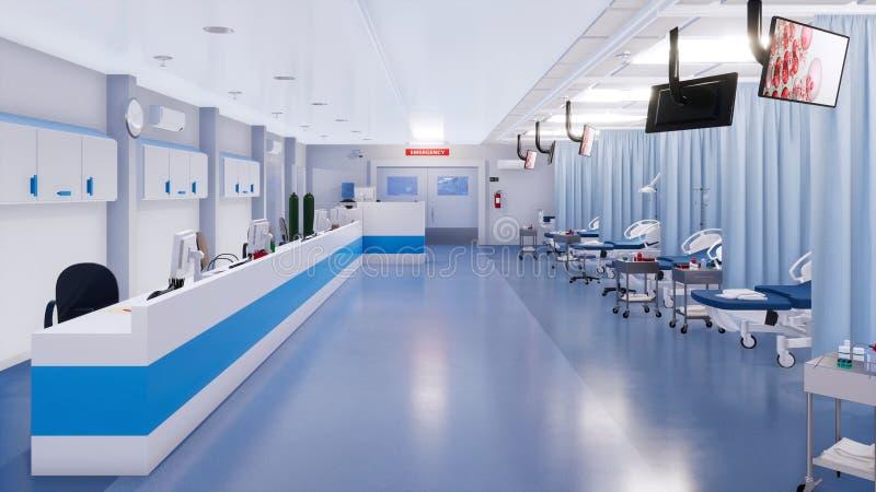 Intérieur vide de chambre de secours d'hôpital moderne illustration libre de droits