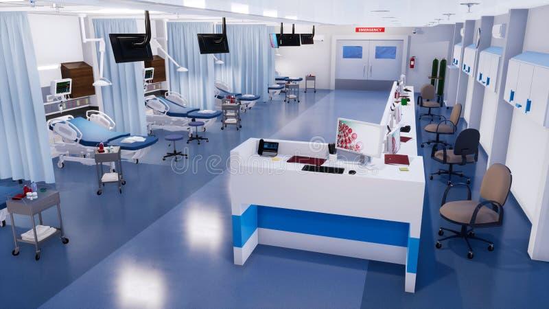 Intérieur vide de chambre de secours dans l'hôpital moderne illustration libre de droits