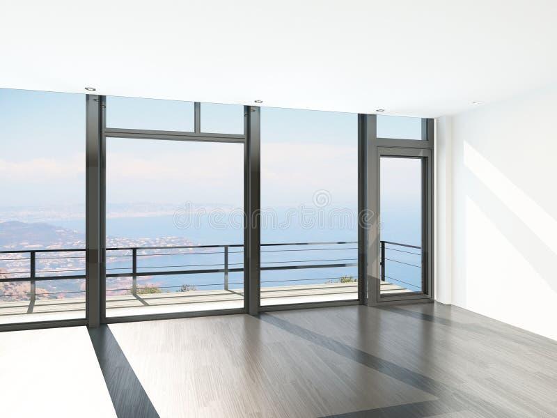 Intérieur vide de pièce avec le plancher aux fenêtres de plafond et à la vue scénique illustration de vecteur