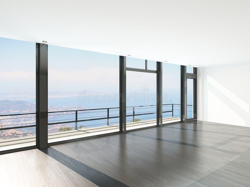 Intérieur vide de pièce avec le plancher aux fenêtres de plafond et à la vue scénique illustration stock