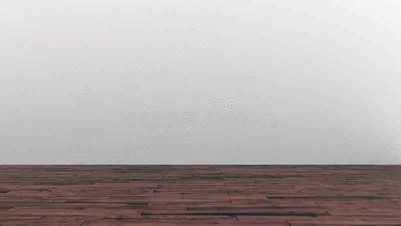 Intérieur vide de pièce avec le plancher en bois et le mur blanc illustration de vecteur