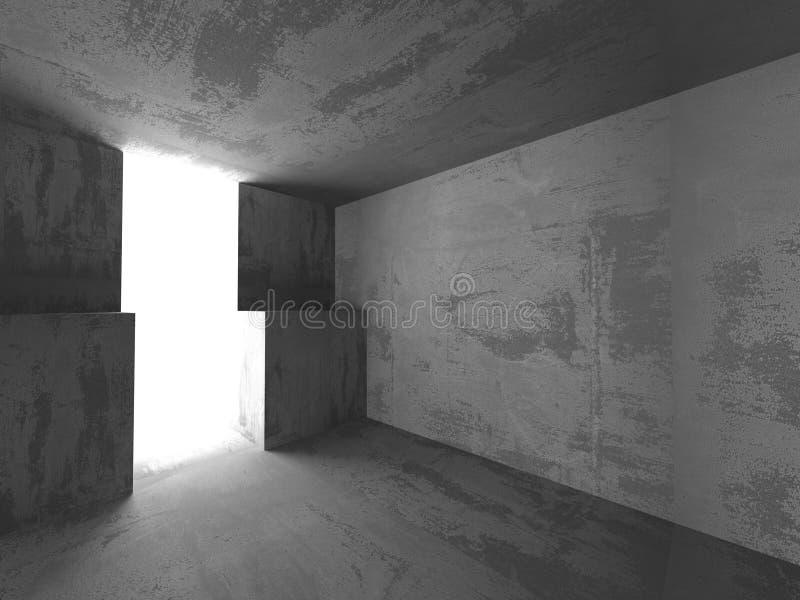 int rieur vide de pi ce de sous sol sombre murs en b ton architecture illustration stock image. Black Bedroom Furniture Sets. Home Design Ideas