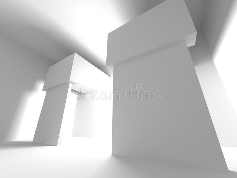 Intérieur vide de pièce de sous-sol sombre Murs en béton illustration stock