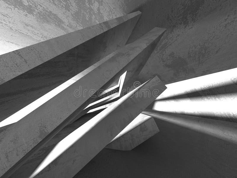 Intérieur vide de pièce de sous-sol sombre Murs en béton illustration libre de droits
