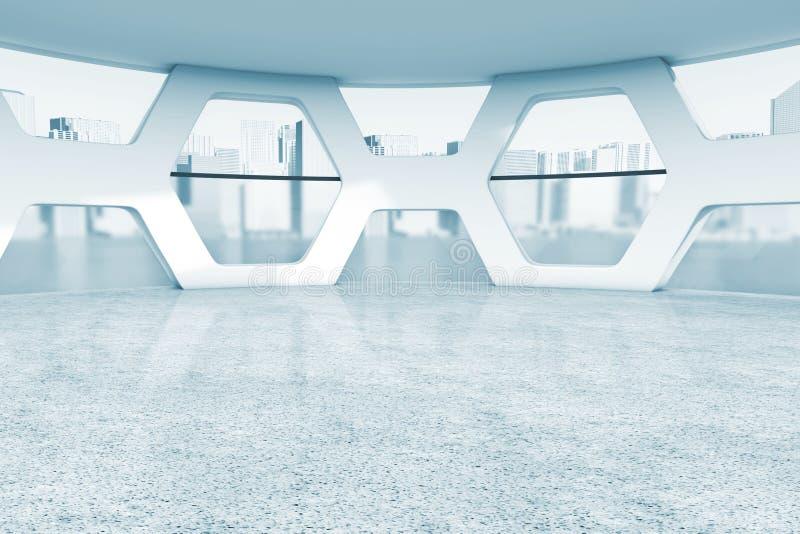 Intérieur vide lumineux d'abrégé sur bureau dans la clé bleue rendu 3d illustration de vecteur
