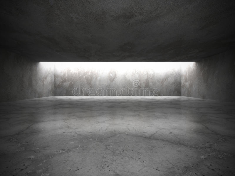 Intérieur vide sombre de pièce avec de vieux murs en béton et lig de plafond illustration de vecteur
