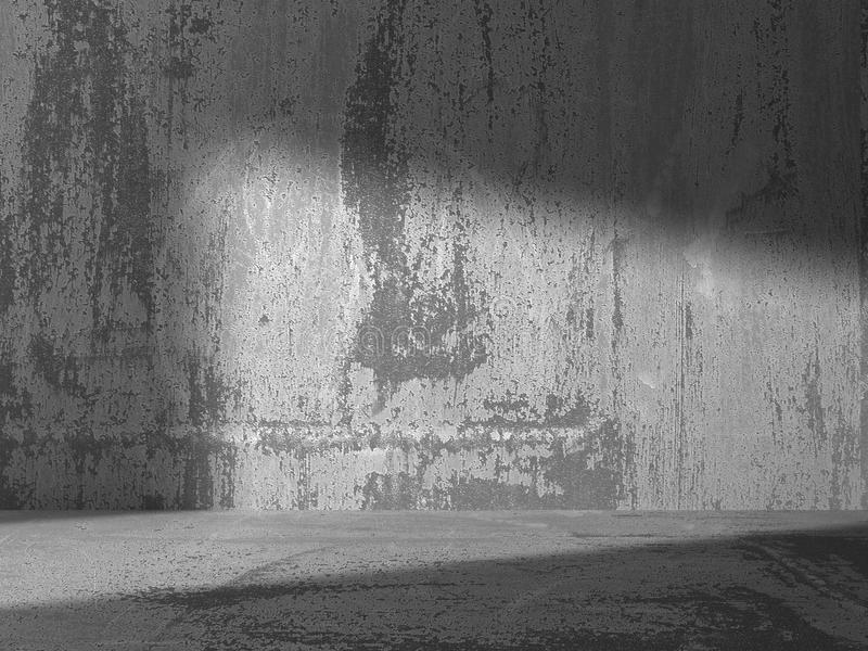 Intérieur vide sombre de pièce de murs en béton Dos urbain d'architecture illustration stock