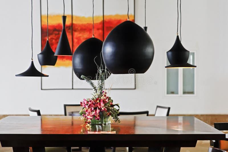 Intérieur vivant de salle à manger de contemporain photo stock