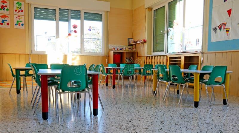 Intérieurs d'une classe de jardin d'enfants image libre de droits