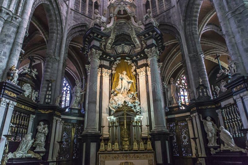 Intérieurs de cathédrale de Bavon de saint, Gand, Belgique image libre de droits