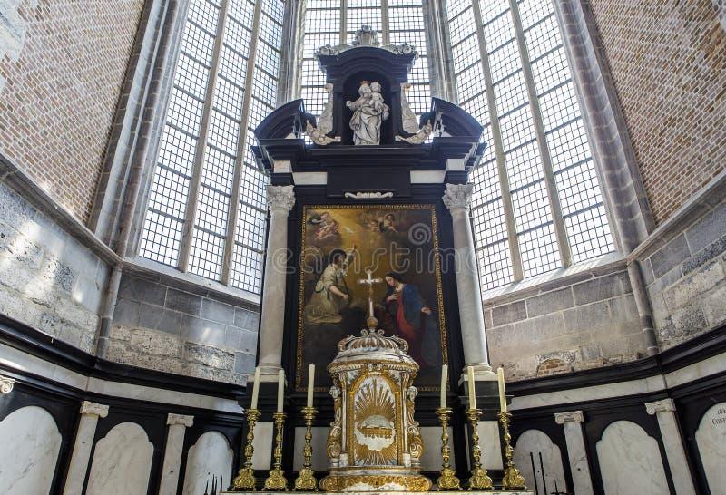 Intérieurs de l'église de Saint-Nicolas, Gand, Belgique images stock