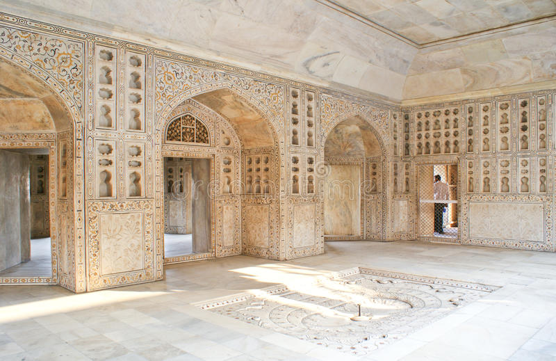 Intérieurs de Musamman Burj dans le fort d'Agra, Inde. images libres de droits