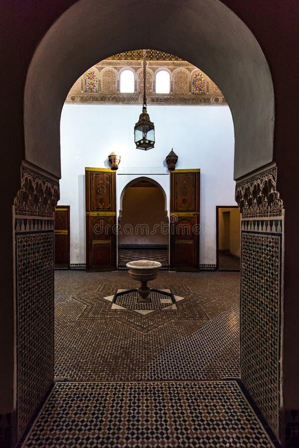 Intérieurs des musulmans Bahia Palace à Marrakech, Maroc photos libres de droits