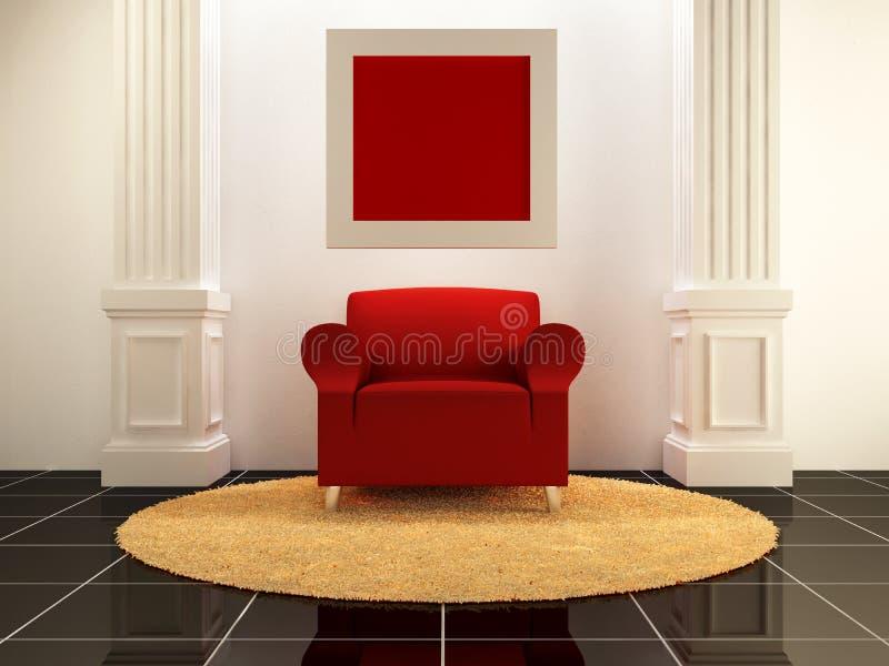 Intérieurs - siège rouge entre les fléaux illustration stock