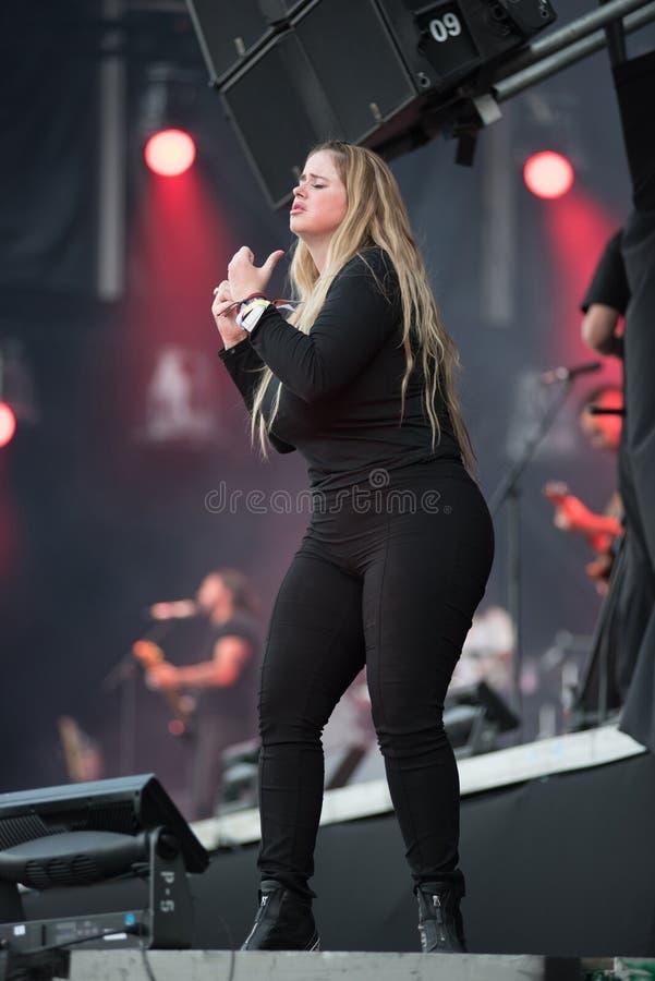 Intérprete da linguagem gestual no concerto imagem de stock