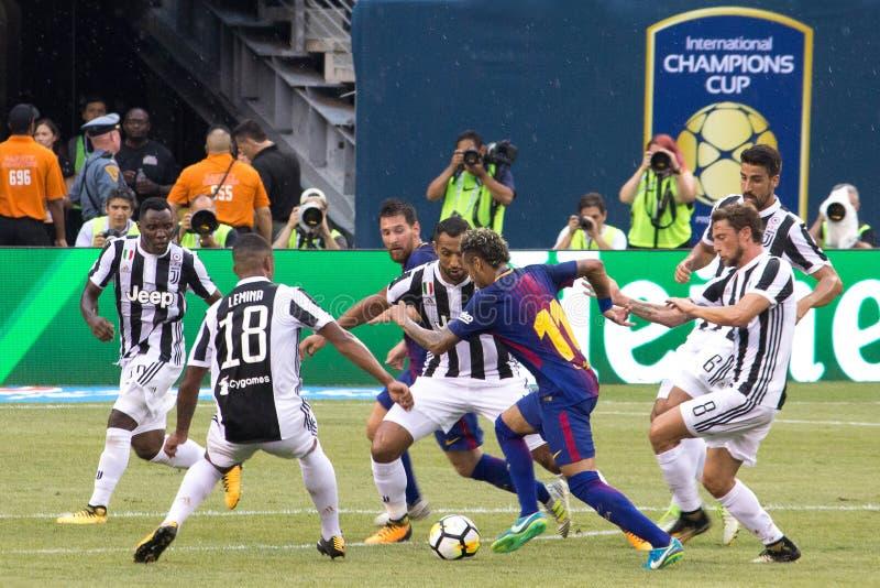 2017 Int`l Champions Cup- FC Barcelona vs Juventus. Exhibition Soccer: The 2017 ICC contest pits Spanish La Liga powerhouse FC Barcelona vs Italian Serie A stock image