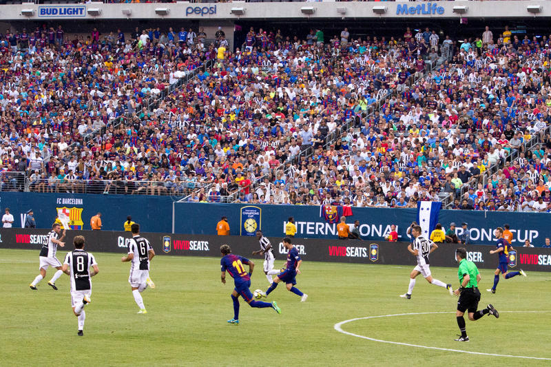 2017 Int`l Champions Cup- FC Barcelona vs Juventus. Exhibition Soccer: The 2017 ICC contest pits Spanish La Liga powerhouse FC Barcelona vs Italian Serie A royalty free stock images