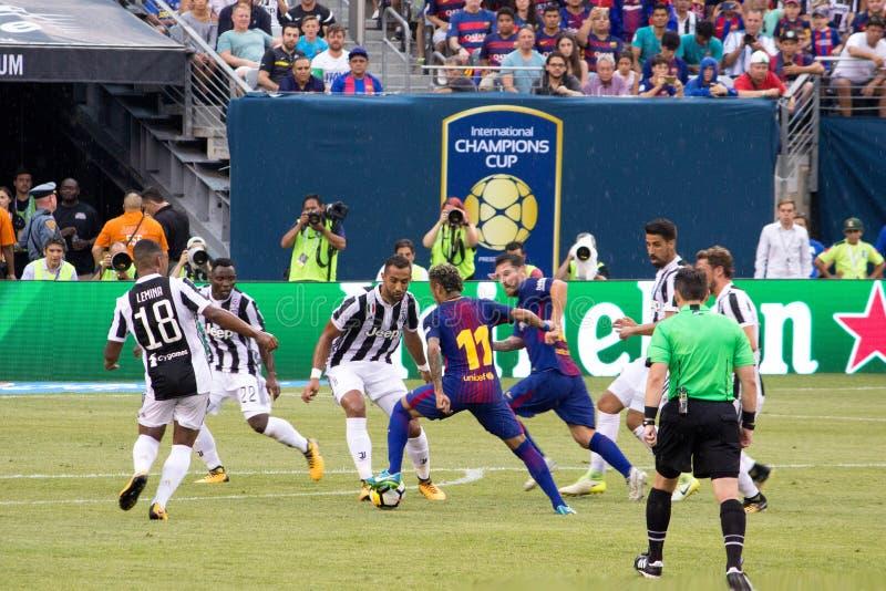 2017 Int`l Champions Cup- FC Barcelona vs Juventus. Exhibition Soccer: The 2017 ICC contest pits Spanish La Liga powerhouse FC Barcelona vs Italian Serie A royalty free stock photography