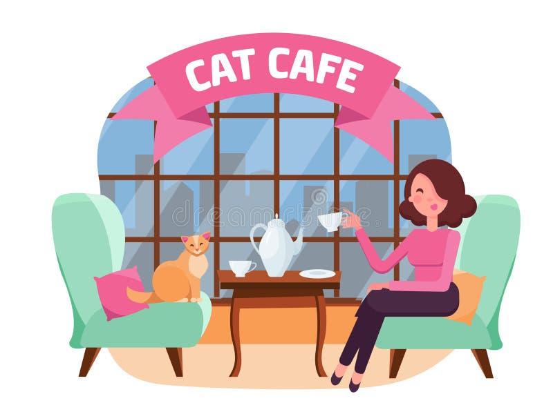 Int?rieur de caf? de chat avec la grands fen?tre, femme et Kitty dans des fauteuils confortables Th? de fille et de chat Passer l illustration libre de droits